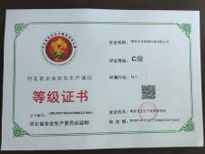 河北省企业安全生产诚信等级证书